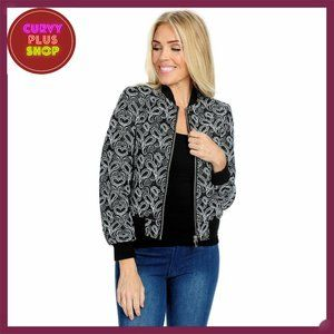 Black Faux Leather Bomber Jacket with Embroidery